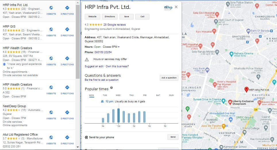 Google My Business Listing on map
