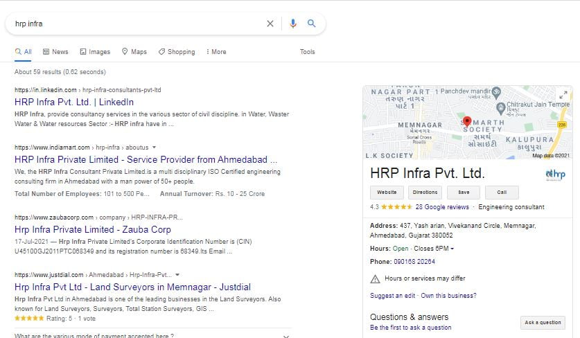 Google My Business listing in Search Engine